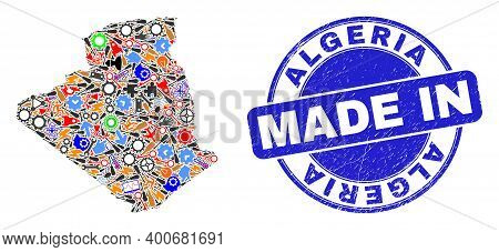 Technical Mosaic Algeria Map And Made In Grunge Stamp Seal. Algeria Map Collage Composed With Spanne
