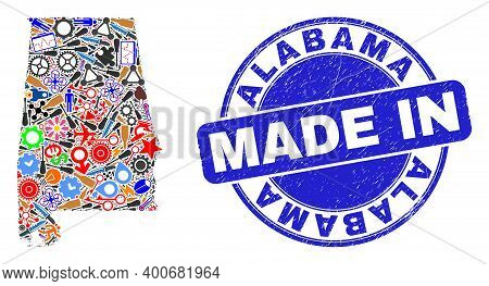 Component Mosaic Alabama State Map And Made In Textured Stamp Seal. Alabama State Map Mosaic Compose