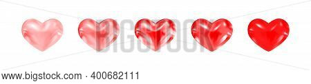 Adorable Red Shiny Glossy Hearts Of Different Saturation. Decor For Holidays, Likes, Messages, Uplif