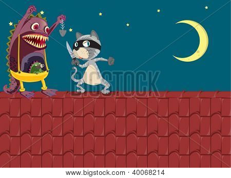 illustration of a monster and a cat on a roof