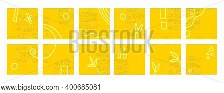 Yellow Abstract Backgrounds Isolated On White Background. Patterns, Circles, Scrolls, Squares, And S
