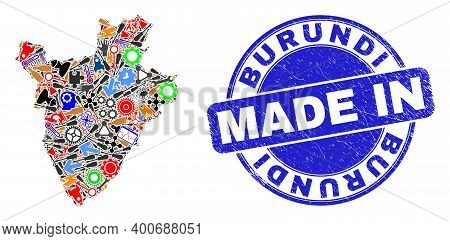 Service Burundi Map Mosaic And Made In Scratched Rubber Stamp. Burundi Map Collage Formed With Spann