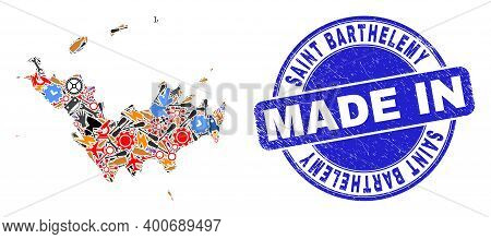 Service Saint Barthelemy Map Mosaic And Made In Grunge Rubber Stamp. Saint Barthelemy Map Collage Fo