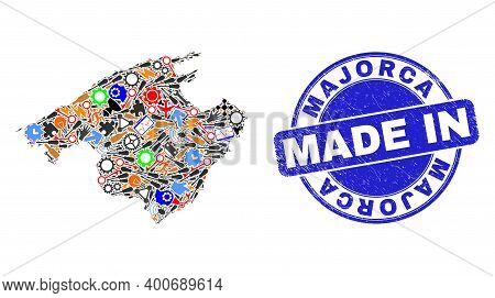 Production Mosaic Majorca Map And Made In Grunge Stamp. Majorca Map Mosaic Designed With Wrenches,co