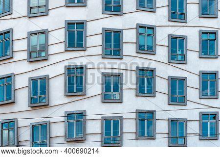 Prague, Czech Republic - August 20, 2017: Futuristic Architecture In Prague. Dancing House Building,