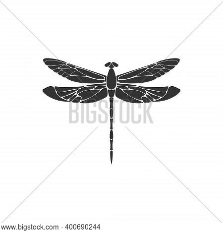 Dragonfly. Black Dragonfly Sign On White Background. Flat Design. Silhouette Icon. Vector Illustrati
