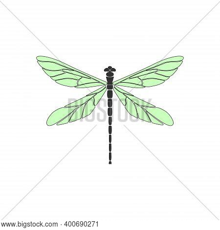Dragonfly. Black Dragonfly With Green Wings On White Background. Flat Design. Silhouette Icon. Vecto