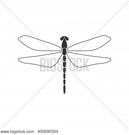 Dragonfly Concept. Black Dragonfly With Linear Wings On White Background. Flat Design. Silhouette Ic