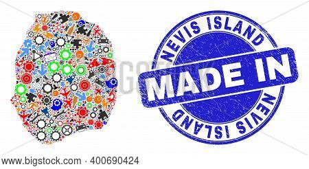 Component Mosaic Nevis Island Map And Made In Distress Rubber Stamp. Nevis Island Map Abstraction Co