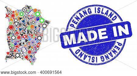 Engineering Penang Island Map Mosaic And Made In Distress Watermark. Penang Island Map Abstraction C