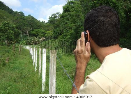 Using A Mobile Phone In The Forest
