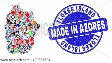 Technical Mosaic Flores Island Of Azores Map And Made In Grunge Rubber Stamp. Flores Island Of Azore