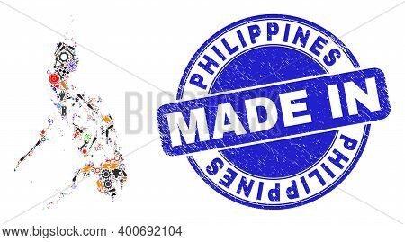 Technical Mosaic Philippines Map And Made In Textured Rubber Stamp. Philippines Map Mosaic Created W