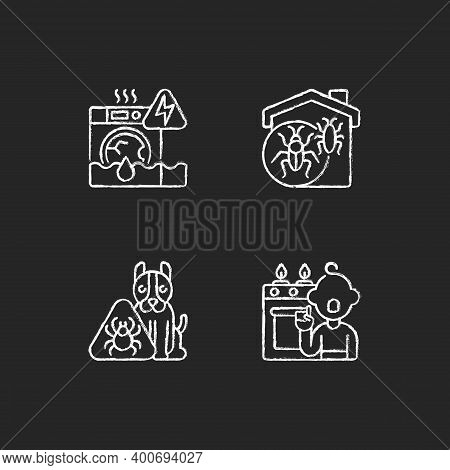 Unsafe Home Situations Chalk White Icons Set On Black Background. Household Appliances Malfunction.