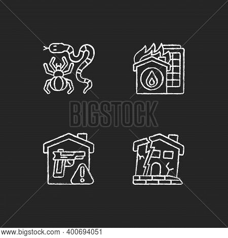 Home Hazards Prevention Chalk White Icons Set On Black Background. Dangerous Animals. Home Fire. Wea