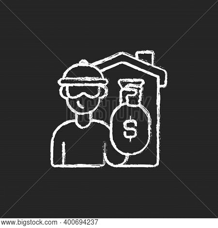 Theft Chalk White Icon On Black Background. Home Burglary And Robbery. House Invasion. Security, Saf