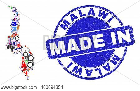 Production Malawi Map Mosaic And Made In Textured Stamp. Malawi Map Mosaic Designed With Spanners, C