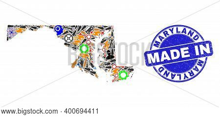 Technical Mosaic Maryland State Map And Made In Grunge Stamp Seal. Maryland State Map Composition Cr