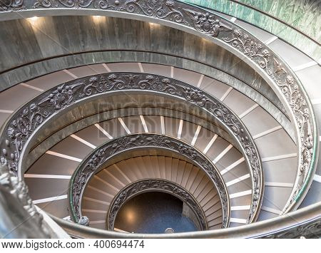 Rome, Italy - Circa September 2020: The Famous Spiral Staircase With Double Helix. Vatican Museum, M