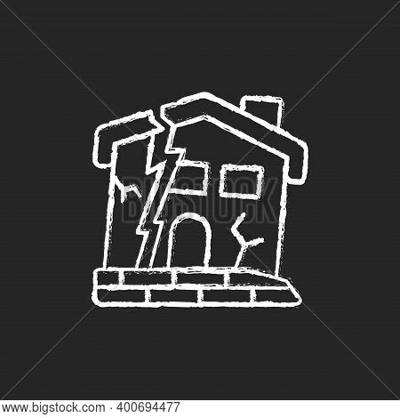 Dilapidated House Chalk White Icon On Black Background. Abandoned Buildings. Dangers In Old Houses.