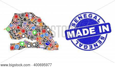 Engineering Mosaic Senegal Map And Made In Grunge Rubber Stamp. Senegal Map Mosaic Composed With Wre