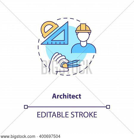 Architect Concept Icon. Plan And Draft Project. Professional Builder, Contractor. Civil Engineering