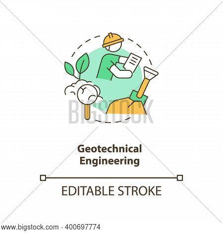 Geotechnical Engineering Concept Icon. Construction Site Investigation. Engineer Work. Civil Enginee