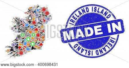 Development Ireland Island Map Mosaic And Made In Scratched Rubber Stamp. Ireland Island Map Composi