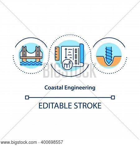 Coastal Engineering Concept Icon. Coastal Structures Building And Maintenance Idea Thin Line Illustr