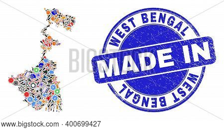 Development Mosaic West Bengal State Map And Made In Textured Stamp. West Bengal State Map Mosaic Fo