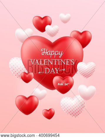 Happy Valentines Day. Holiday Banner, Flyer, Poster, Greeting Card, Cover. Romantic Background With