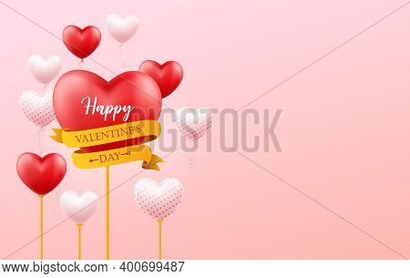 Happy Valentines Day Banner, Flyer, Poster, Greeting Card With Space For Text And With Flying Realis