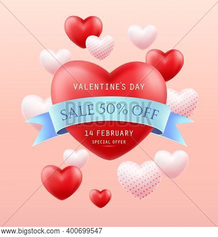 Valentines Day Sale. Banner, Flyer, Poster, Greeting Card. Promotion And Shopping Template Or Backgr