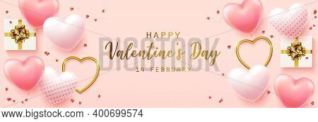Happy Valentines Day With Calligraphy Text. Horizontal Banner For The Website. Romantic Background W