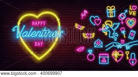 Valentines Day Neon Sign On Dark Brick Wall Background And Glowing Neon Signs. Horizontal Banner, Fl