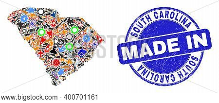 Component South Carolina State Map Mosaic And Made In Scratched Rubber Stamp. South Carolina State M