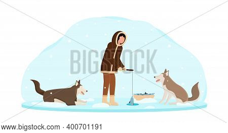 Eskimo Wearing Traditional Clothes Fishing Wth Dogs Around. Alaska Man Pulling Out Fish On Snow Back