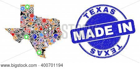 Development Texas State Map Mosaic And Made In Grunge Stamp Seal. Texas State Map Collage Created Wi