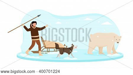 Eskimo Wearing Traditional Clothes Hunting On White Bear With A Spare. Alaska Man Sneaking Behind Be