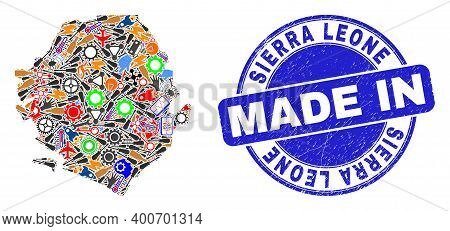 Industrial Sierra Leone Map Mosaic And Made In Distress Watermark. Sierra Leone Map Mosaic Formed Wi