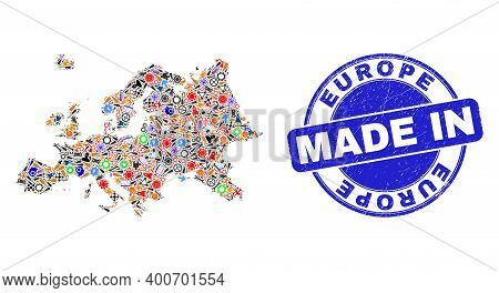 Service Europe Map Mosaic And Made In Distress Stamp. Europe Map Collage Formed With Spanners, Wheel