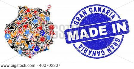 Industrial Mosaic Gran Canaria Map And Made In Scratched Stamp. Gran Canaria Map Mosaic Formed With