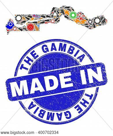 Industrial The Gambia Map Mosaic And Made In Textured Rubber Stamp. The Gambia Map Composition Creat