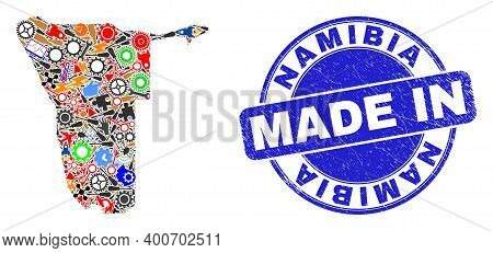 Component Namibia Map Mosaic And Made In Grunge Stamp Seal. Namibia Map Mosaic Created From Wrenches