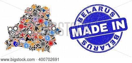Component Belarus Map Mosaic And Made In Textured Rubber Stamp. Belarus Map Composition Composed Wit