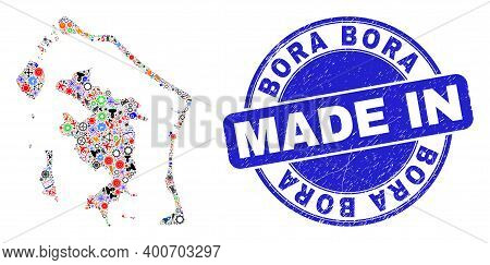 Technical Mosaic Bora-bora Map And Made In Scratched Rubber Stamp. Bora-bora Map Mosaic Formed With