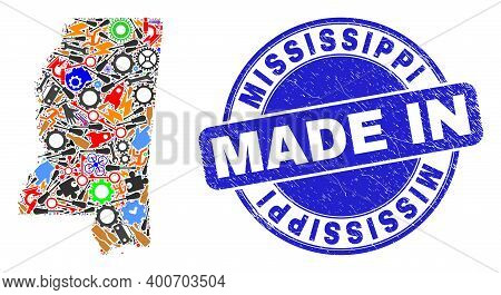 Production Mosaic Mississippi State Map And Made In Distress Rubber Stamp. Mississippi State Map Mos