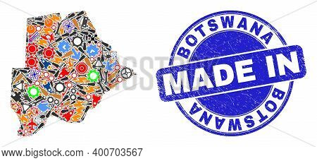 Component Botswana Map Mosaic And Made In Distress Rubber Stamp. Botswana Map Abstraction Formed Wit