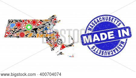 Technical Mosaic Massachusetts State Map And Made In Scratched Rubber Stamp. Massachusetts State Map