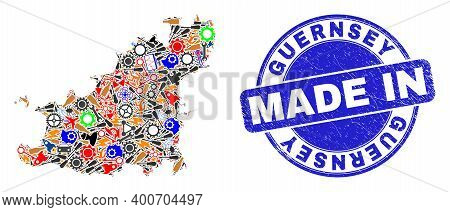 Component Guernsey Island Map Mosaic And Made In Distress Rubber Stamp. Guernsey Island Map Composit